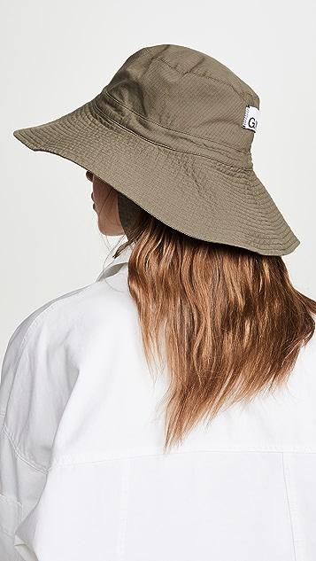 GANNI 厚织尼龙布料棉质卡其帽子