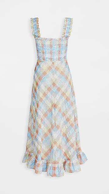 GANNI Seersucker Check Sleeveless Dress