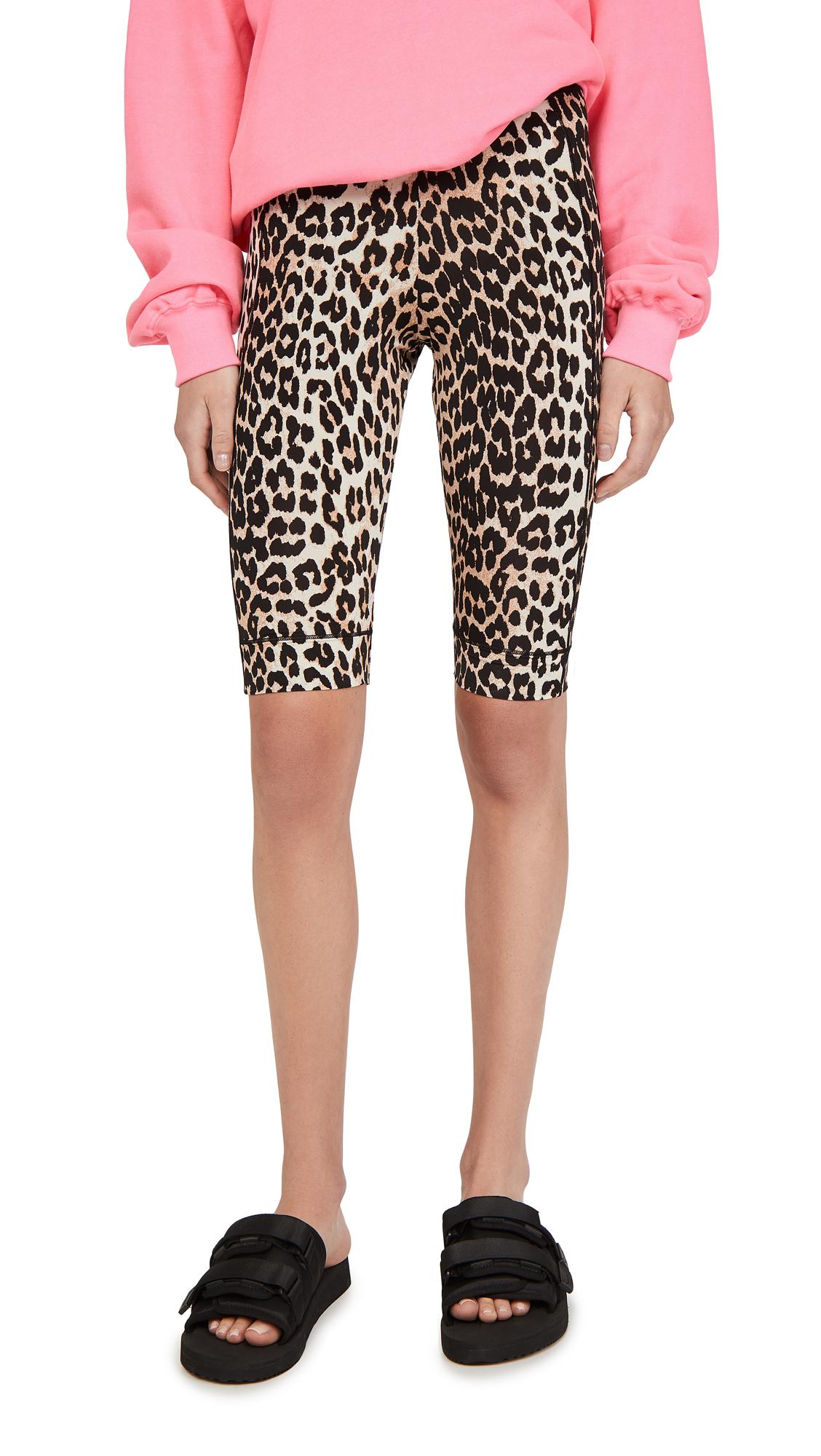 GANNI Leopard Biker Shorts