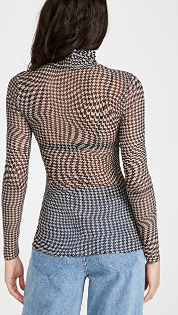GANNI Printed Mesh Turtleneck
