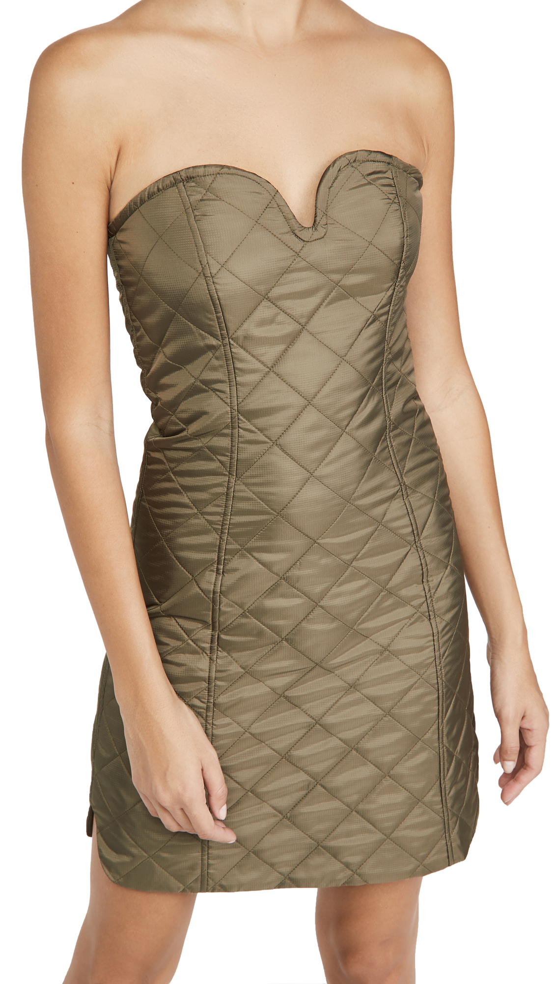 GANNI Recycled Ripstop Quilt Strapless Dress