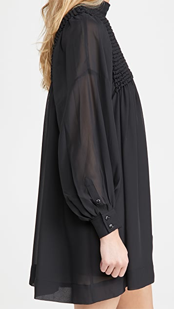 GANNI Smock Chiffon Dress