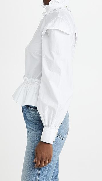 GANNI 棉质府绸女式衬衫
