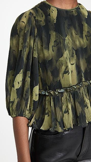 GANNI 裥褶乔其纱女式衬衫