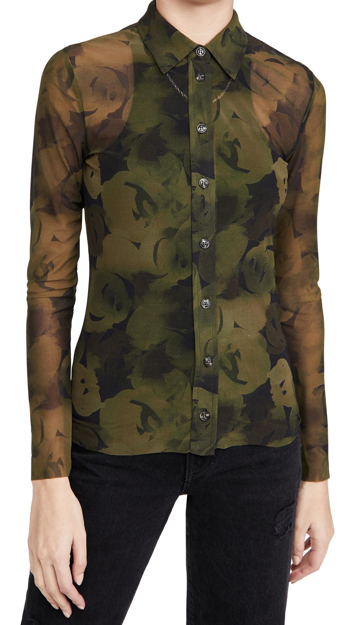 GANNI Printed Mesh Shirt