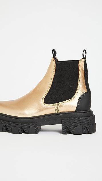 GANNI Metallic Chelsea Boots