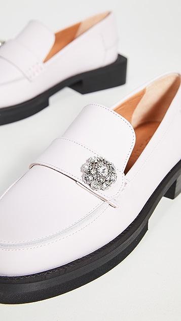 GANNI 珠宝装饰平跟船鞋