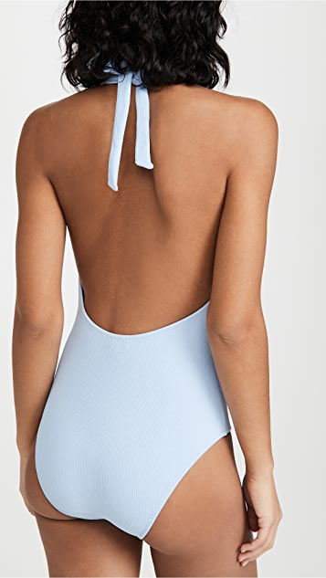GANNI Recycled Textured Fabric One Piece Swimsuit