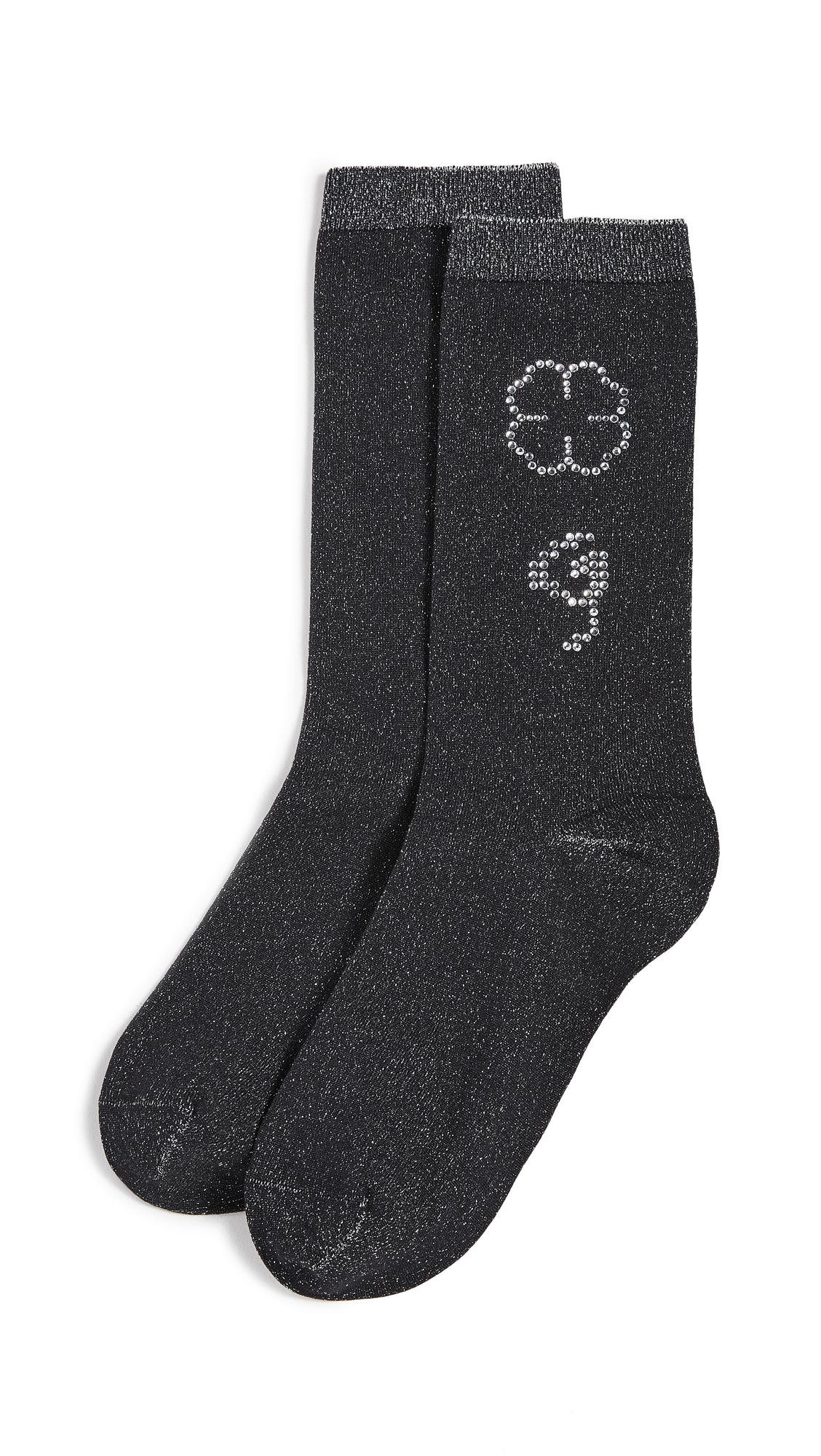 GANNI Polyamide Metallic Blend Socks