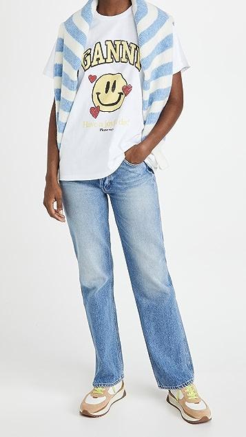 GANNI 基本款棉质平纹针织 T 恤