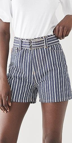 GANNI - Mixed Stripe Denim Shorts