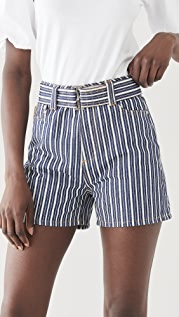 GANNI Mixed Stripe Denim Shorts
