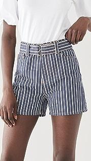 GANNI 混合条纹牛仔布短裤