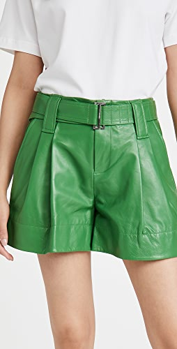 GANNI - Lamb Leather Shorts