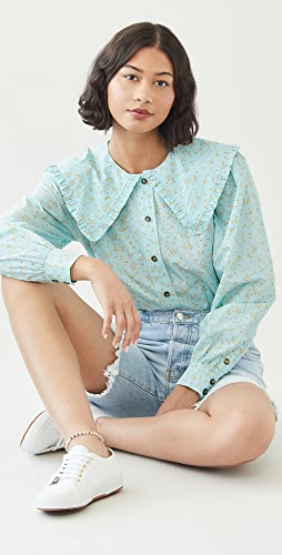 GANNI - Printed Cotton Poplin Shirt