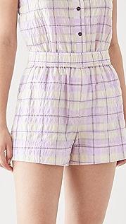 GANNI 泡泡纱格纹短裤