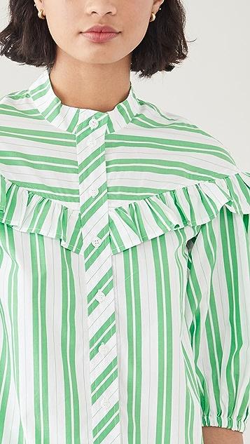 GANNI Stripe Cotton Shirt