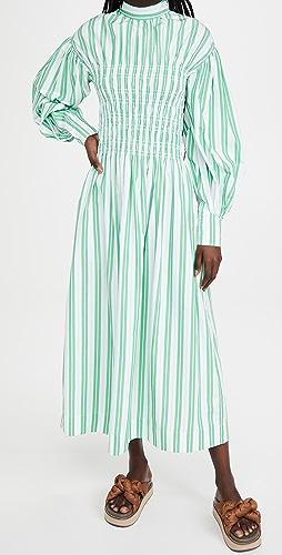 GANNI - 条纹棉连衣裙