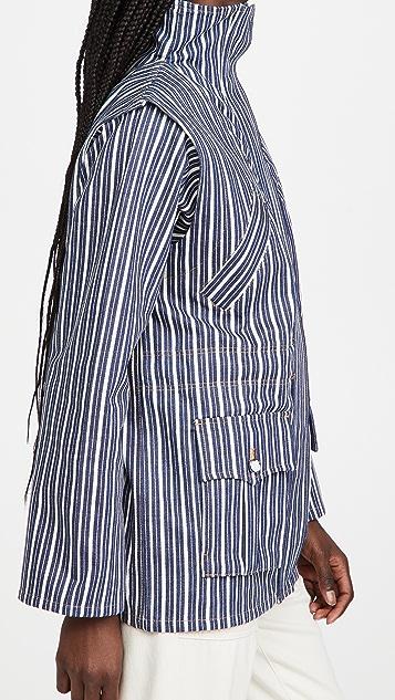 GANNI Mixed Stripe Denim Jacket