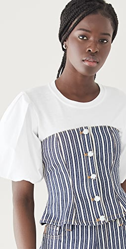 GANNI - Mixed Stripe Denim Buster Top
