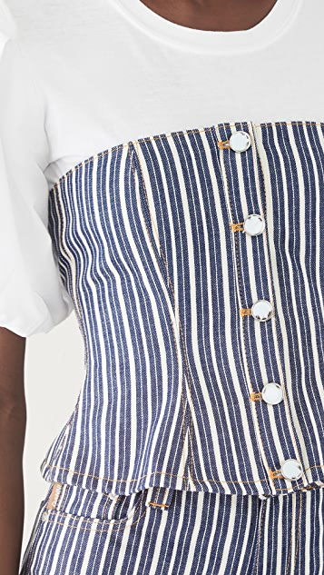 GANNI Mixed Stripe Denim Buster Top