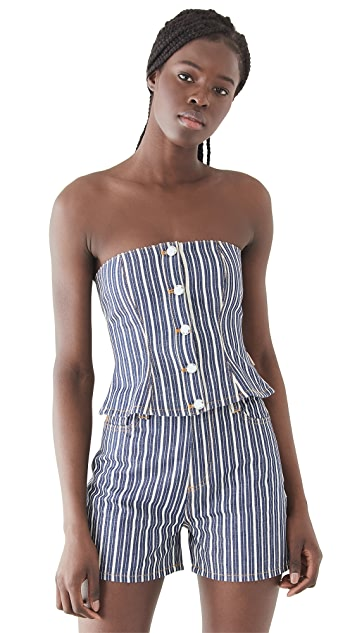 GANNI Mixed Stripe Denim Buster Top