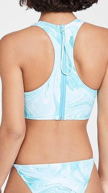 GANNI Recycled Printed Bikini Top