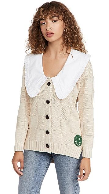 GANNI 棉绳索针织系扣衫