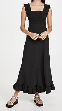 가니 원피스 Ganni Heavy Crepe Maxi Dress,Black