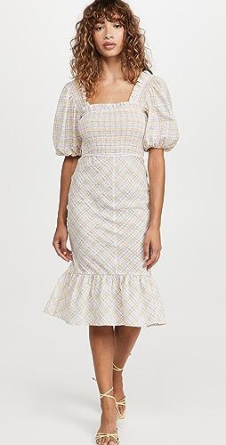 GANNI - Seersucker Check Midi Dress