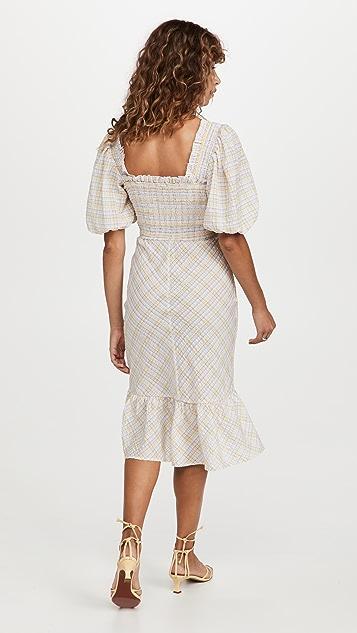 GANNI Seersucker Check Midi Dress