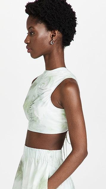 GANNI Printed Cotton Poplin Top