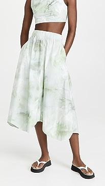 Ganni Printed Cotton Poplin Maxi Skirt,Kelly Green