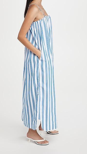 GANNI 条纹棉质肩带连衣裙