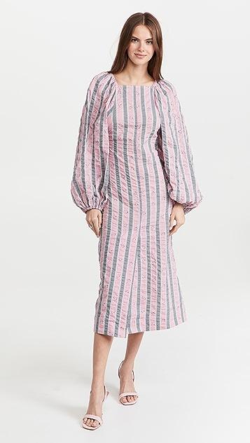 GANNI Cotton Seersucker Maxi Dress