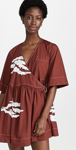 GANNI - Embellished Cotton Wrap Dress