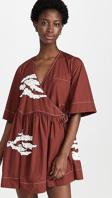 GANNI 缀饰棉裹身连衣裙