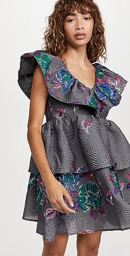 GANNI - 挺括提花织物连衣裙