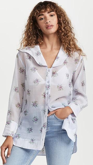 GANNI 透明硬纱女式衬衫