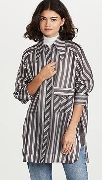 가니 셔츠Ganni Lightweight Stripe Shirt,Phantom