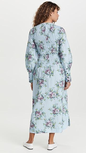 GANNI Printed Cotton Poplin Maxi Dress