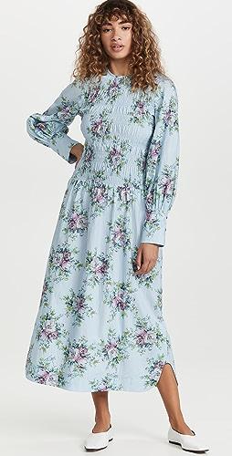 GANNI - Printed Cotton Poplin Maxi Dress