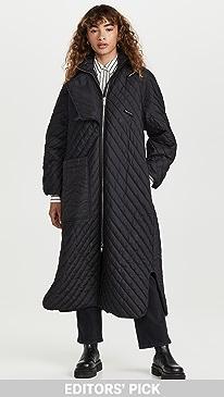가니 립스탑 코트 Ganni Recycled Ripstop Coat,Black