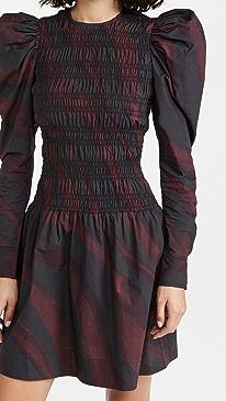 가니 원피스 Ganni Printed Cotton Poplin Mini Dress,Merlot