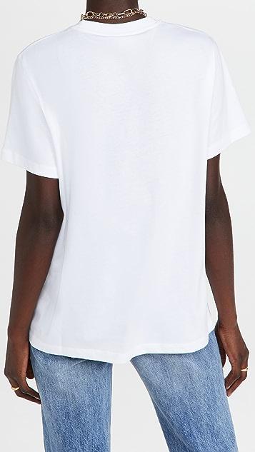 GANNI 基本款棉平纹针织 T 恤
