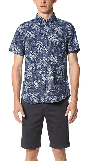 Gant Rugger Indigo Oxford Floral Short Sleeve Shirt