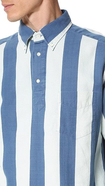 Gant Rugger Indigo Oxford Block Stripe Popover