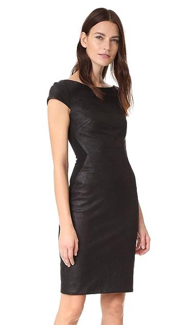 e3268cf106 Gareth Pugh Leather Mini Dress with Stretch Back
