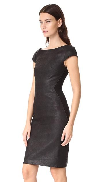 60e7c3bbec ... Gareth Pugh Leather Mini Dress with Stretch Back ...