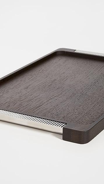 Georg Jensen Bernadotte Oak Tray With Stainless Steel
